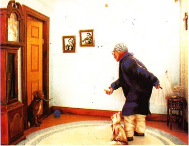 Right. the sculpted portrait of a man and his dog is entitled Leslie Makai